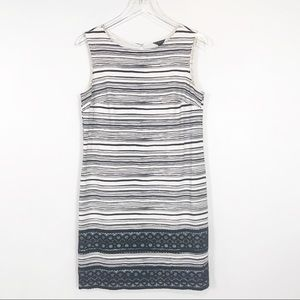 Ann Taylor black and white striped sheath dress